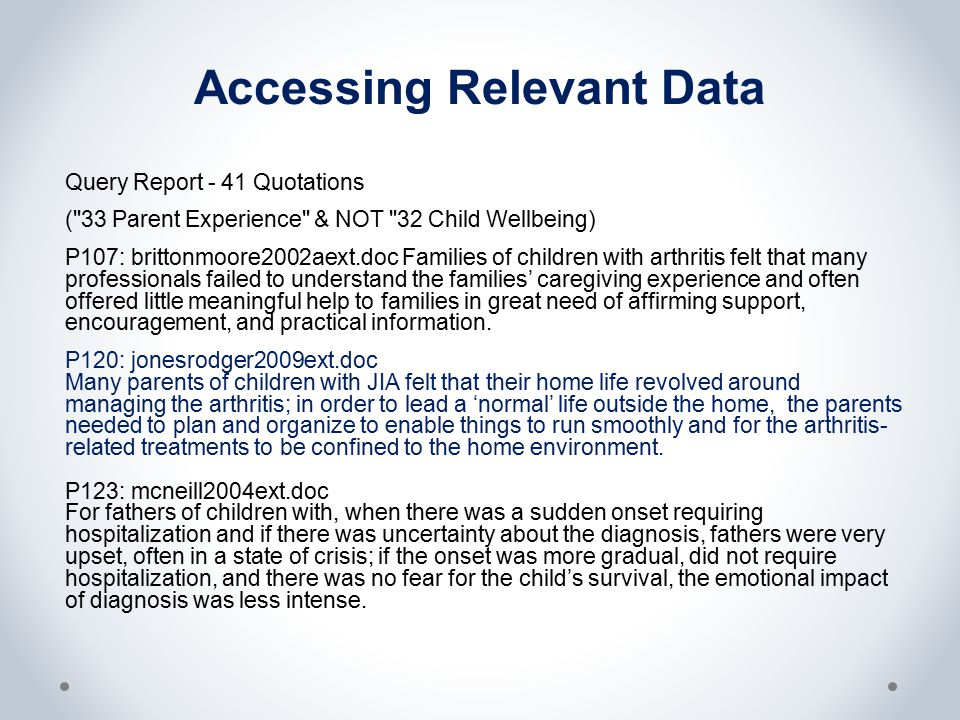 Accessing Relevant Data Query Report - 41 Quotations ( 33 Parent Experience & NOT 32 Child Wellbeing) P107: brittonmoore2002aext.doc Families of children with arthritis felt that many professionals failed to understand the families' caregiving experience and often offered little meaningful help to families in great need of affirming support, encouragement, and practical information.