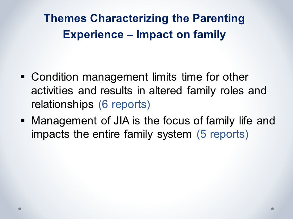 Themes Characterizing the Parenting Experience – Impact on family  Condition management limits time for other activities and results in altered family roles and relationships (6 reports)  Management of JIA is the focus of family life and impacts the entire family system (5 reports)
