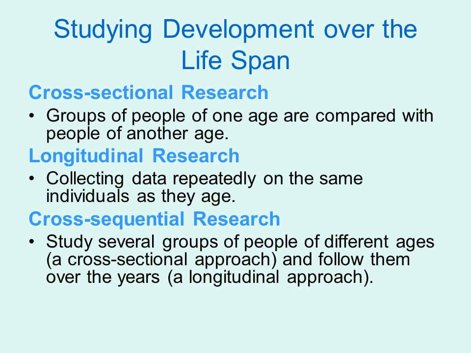 Studying Development over the Life Span Cross-sectional Research Groups of people of one age are compared with people of another age.