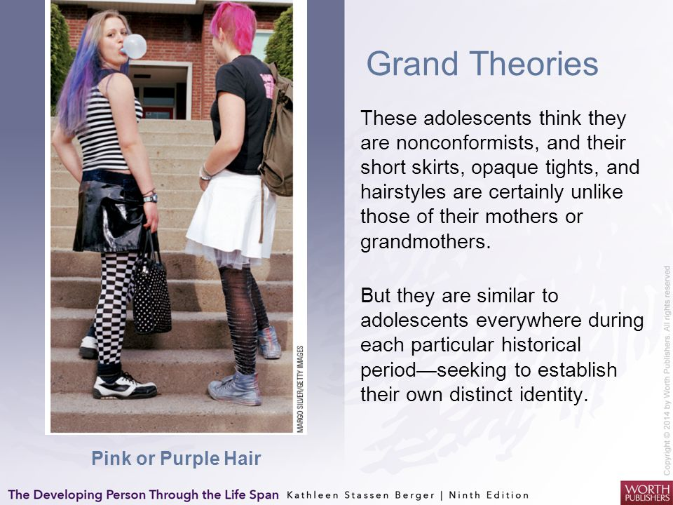 Grand Theories These adolescents think they are nonconformists, and their short skirts, opaque tights, and hairstyles are certainly unlike those of th