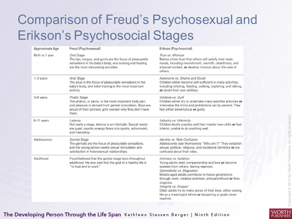 Comparison of Freud's Psychosexual and Erikson's Psychosocial Stages