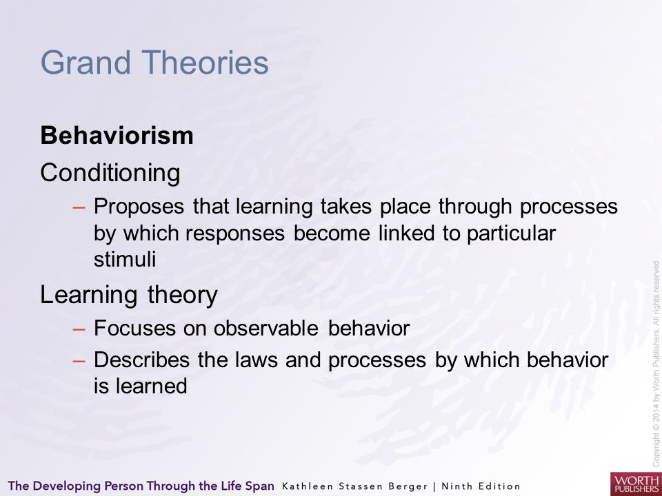 Grand Theories Behaviorism Conditioning –Proposes that learning takes place through processes by which responses become linked to particular stimuli L