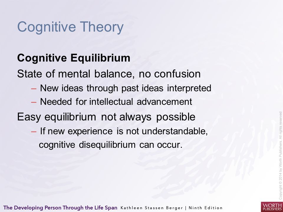 Cognitive Theory Cognitive Equilibrium State of mental balance, no confusion –New ideas through past ideas interpreted –Needed for intellectual advanc