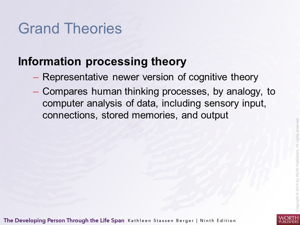 Grand Theories Information processing theory –Representative newer version of cognitive theory –Compares human thinking processes, by analogy, to comp
