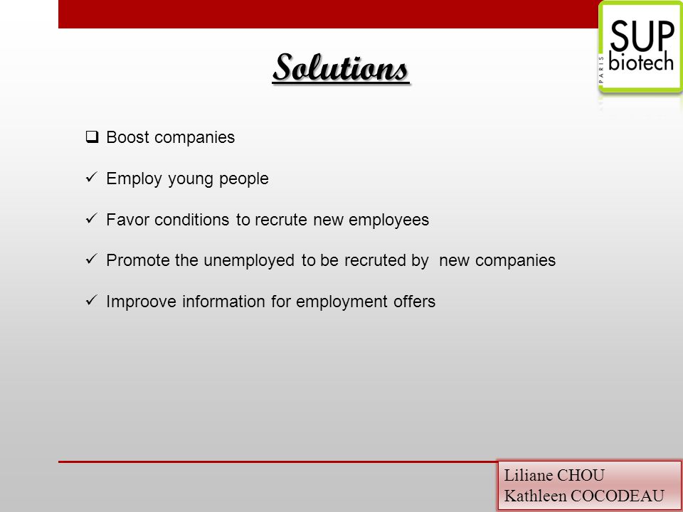 Liliane CHOU Kathleen COCODEAU  Boost companies Employ young people Favor conditions to recrute new employees Promote the unemployed to be recruted by new companies Improove information for employment offers Solutions