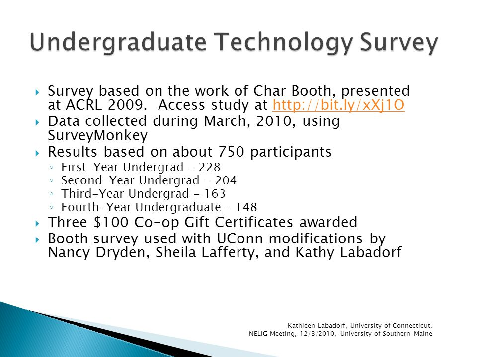  Survey based on the work of Char Booth, presented at ACRL 2009.
