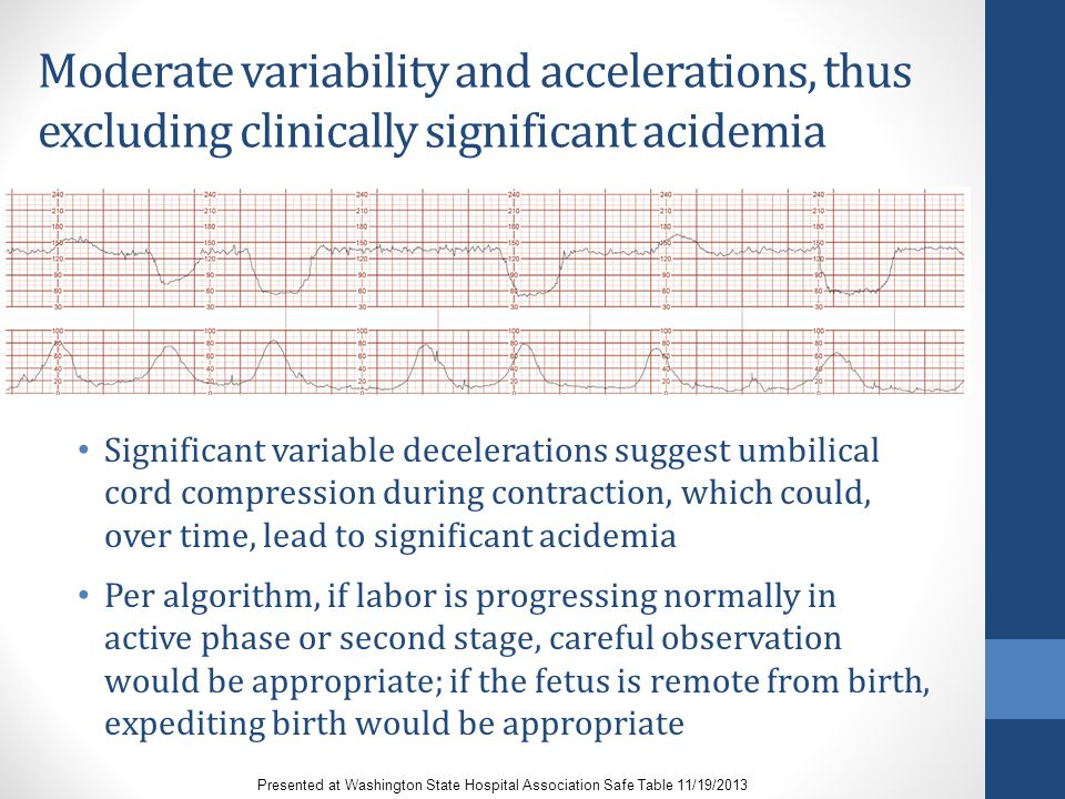 Moderate variability and accelerations, thus excluding clinically significant acidemia Significant variable decelerations suggest umbilical cord compr