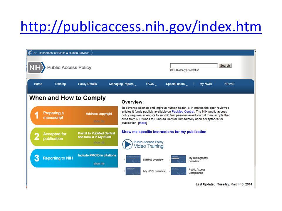 http://publicaccess.nih.gov/index.htm