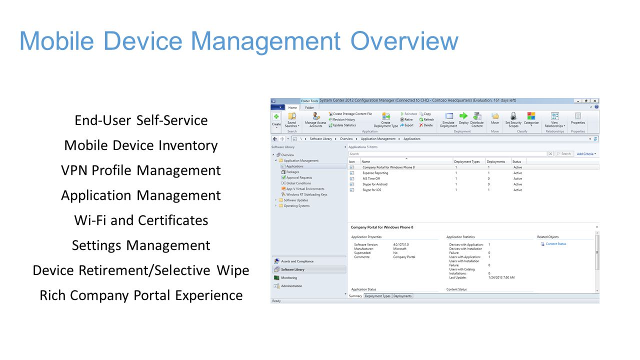 Mobile Device Management Overview End-User Self-Service Mobile Device Inventory VPN Profile Management Application Management Wi-Fi and Certificates Settings Management Device Retirement/Selective Wipe Rich Company Portal Experience