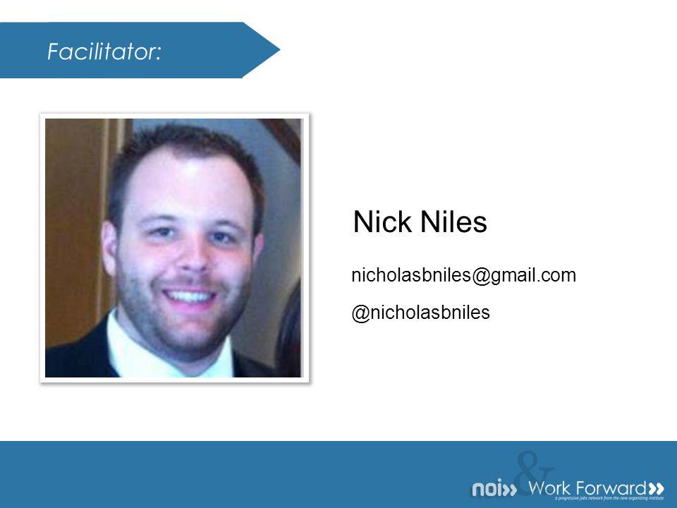 & Presenter: & Nick Niles nicholasbniles@gmail.com Facilitator: @nicholasbniles