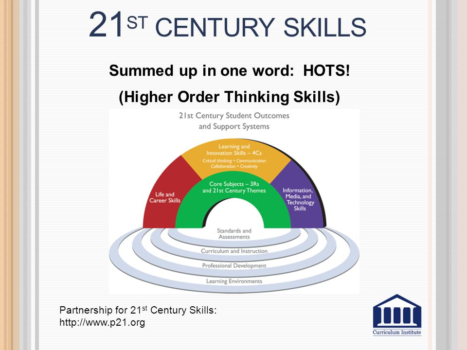 21 ST CENTURY SKILLS Summed up in one word: HOTS.