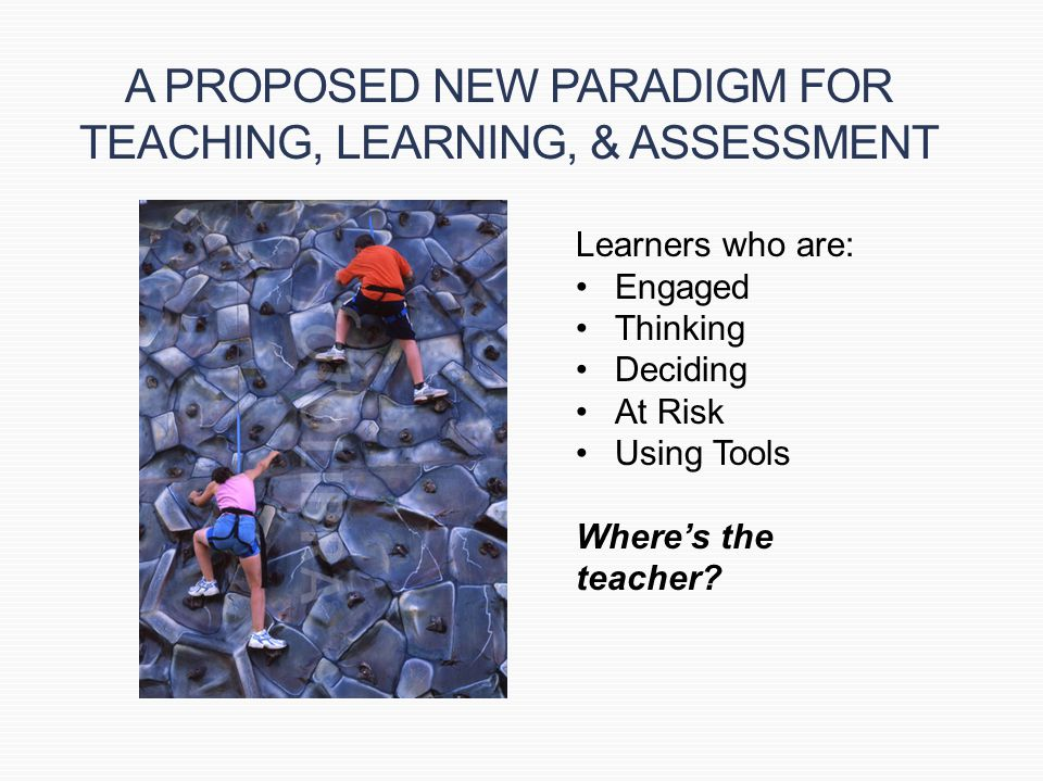 A PROPOSED NEW PARADIGM FOR TEACHING, LEARNING, & ASSESSMENT Learners who are: Engaged Thinking Deciding At Risk Using Tools Where's the teacher