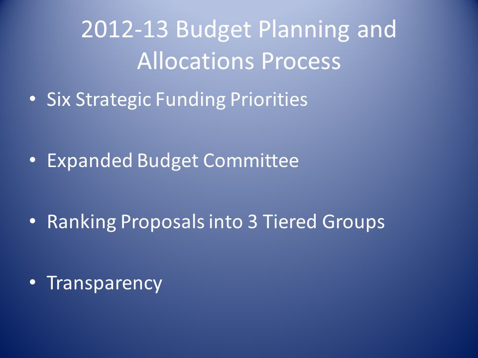 2012-13 Budget Planning and Allocations Process Six Strategic Funding Priorities Expanded Budget Committee Ranking Proposals into 3 Tiered Groups Transparency