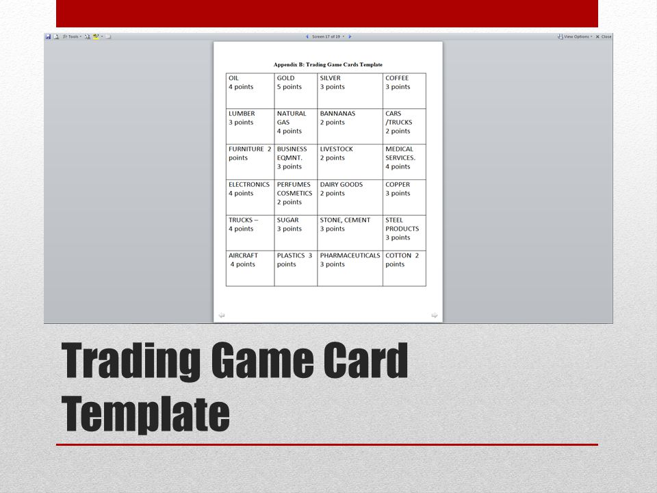Trading Game Card Template