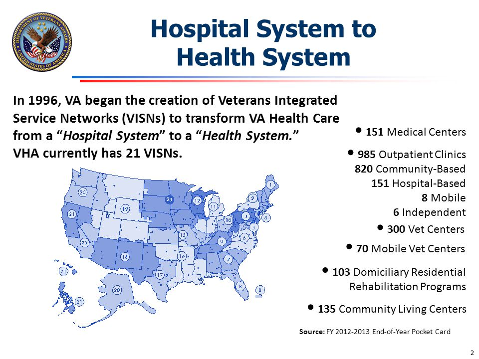 "Hospital System to Health System In 1996, VA began the creation of Veterans Integrated Service Networks (VISNs) to transform VA Health Care from a ""Ho"