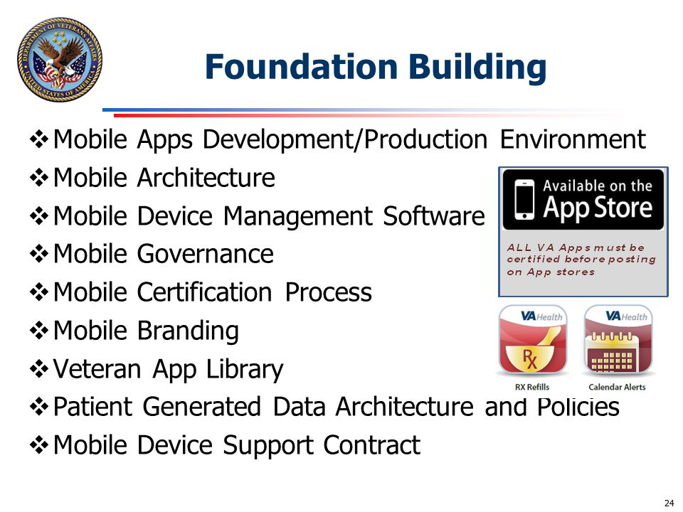 Foundation Building  Mobile Apps Development/Production Environment  Mobile Architecture  Mobile Device Management Software  Mobile Governance  M