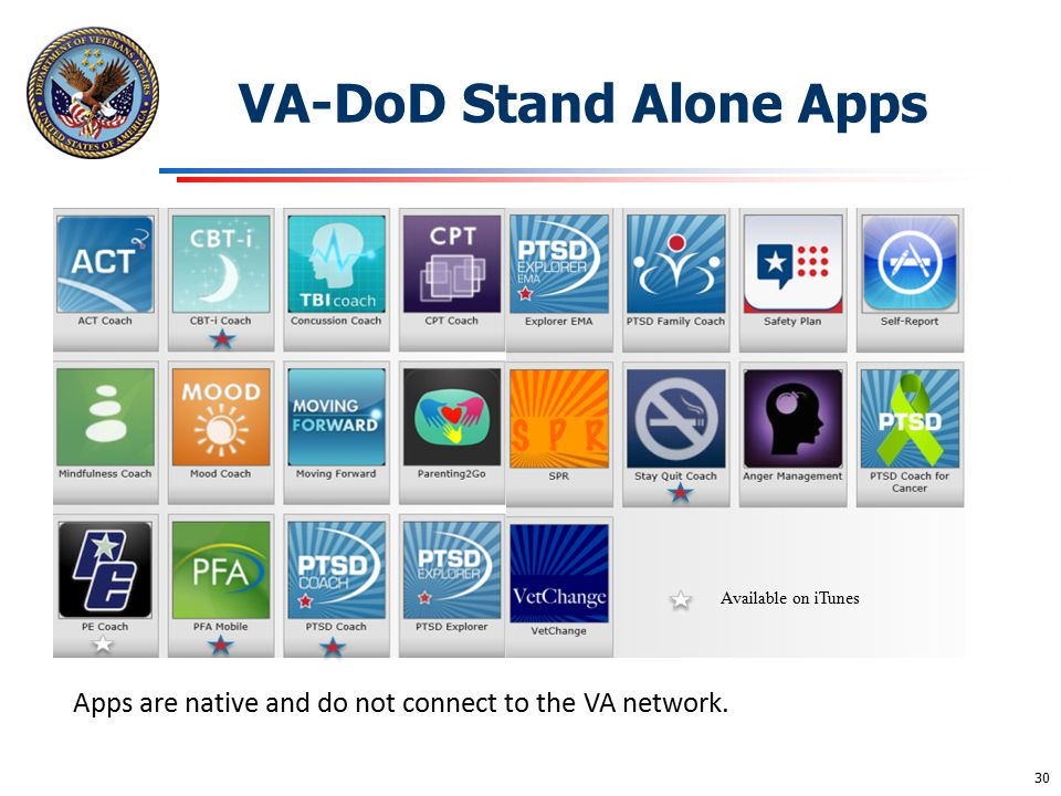 VA-DoD Stand Alone Apps VA Mental Health Apps Available on iTunes Apps are native and do not connect to the VA network. 30