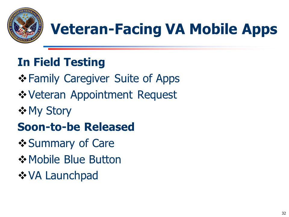 Veteran-Facing VA Mobile Apps In Field Testing  Family Caregiver Suite of Apps  Veteran Appointment Request  My Story Soon-to-be Released  Summary