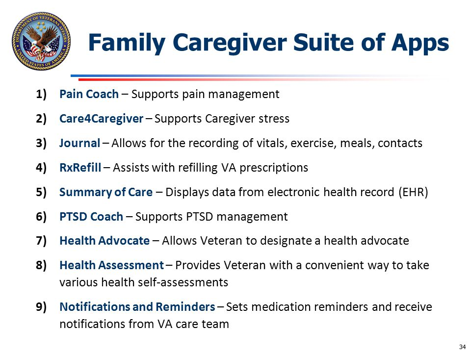 Family Caregiver Suite of Apps 1)Pain Coach – Supports pain management 2)Care4Caregiver – Supports Caregiver stress 3)Journal – Allows for the recordi