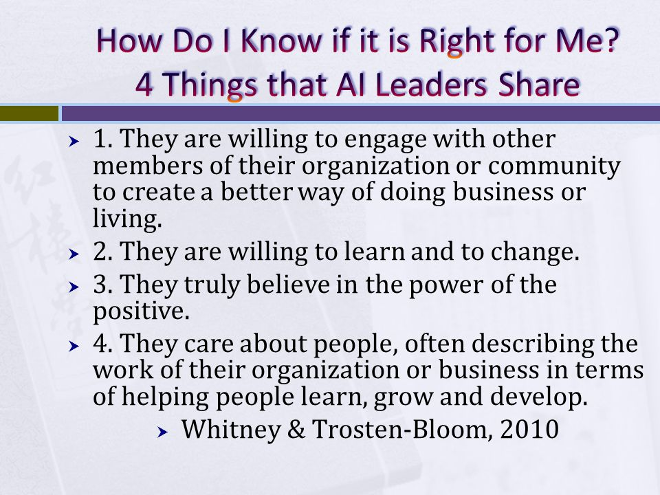  1. They are willing to engage with other members of their organization or community to create a better way of doing business or living.  2. They ar