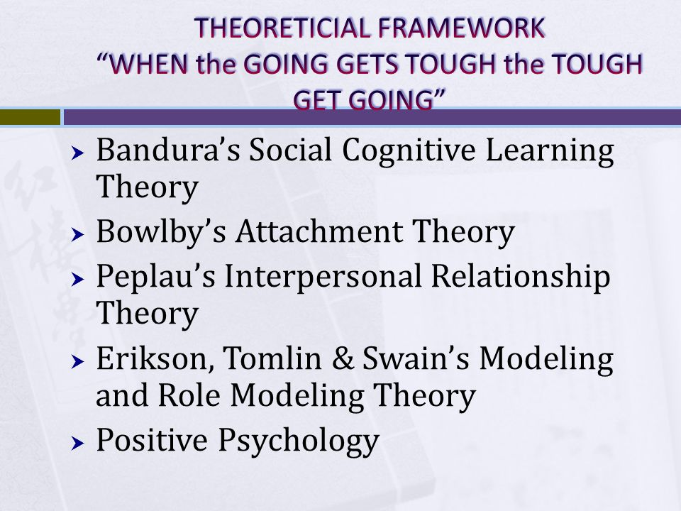  Bandura's Social Cognitive Learning Theory  Bowlby's Attachment Theory  Peplau's Interpersonal Relationship Theory  Erikson, Tomlin & Swain's Modeling and Role Modeling Theory  Positive Psychology
