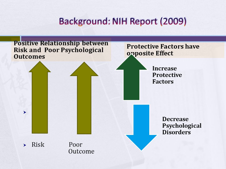 Positive Relationship between Risk and Poor Psychological Outcomes   Risk Poor Outcome Protective Factors have opposite Effect Increase Protective Factors Decrease Psychological Disorders