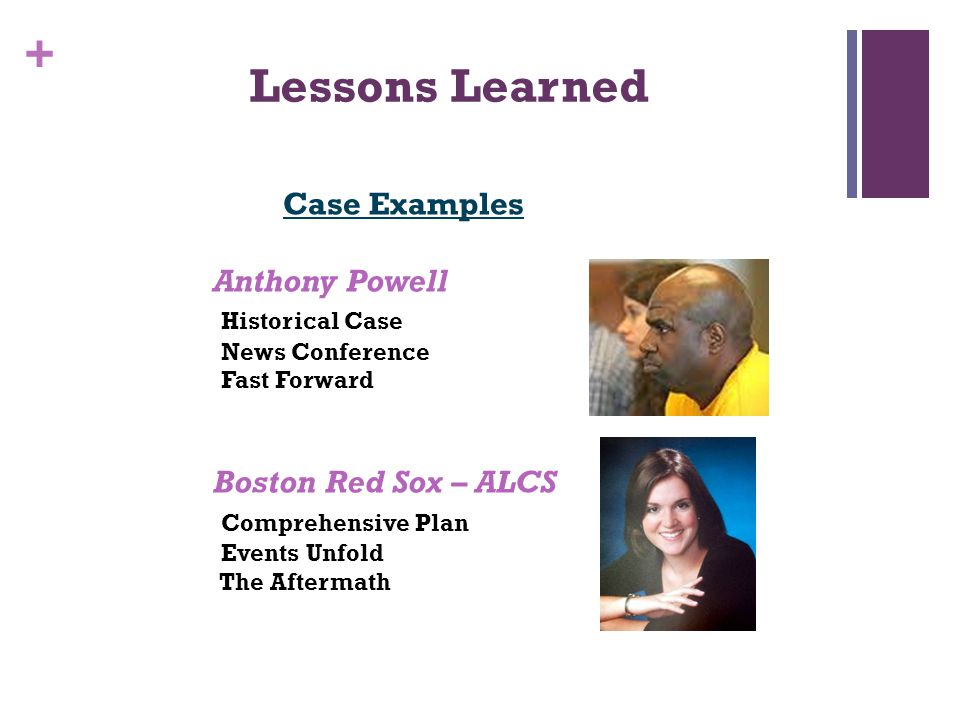 + Lessons Learned Case Examples Anthony Powell Historical Case News Conference Fast Forward Boston Red Sox – ALCS Comprehensive Plan Events Unfold The Aftermath