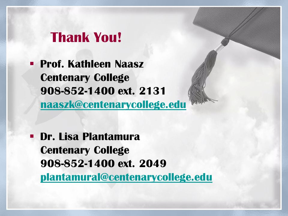 Thank You.  Prof. Kathleen Naasz Centenary College 908-852-1400 ext.