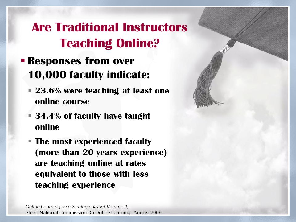 Are Traditional Instructors Teaching Online?  Responses from over 10,000 faculty indicate:  23.6% were teaching at least one online course  34.4% o
