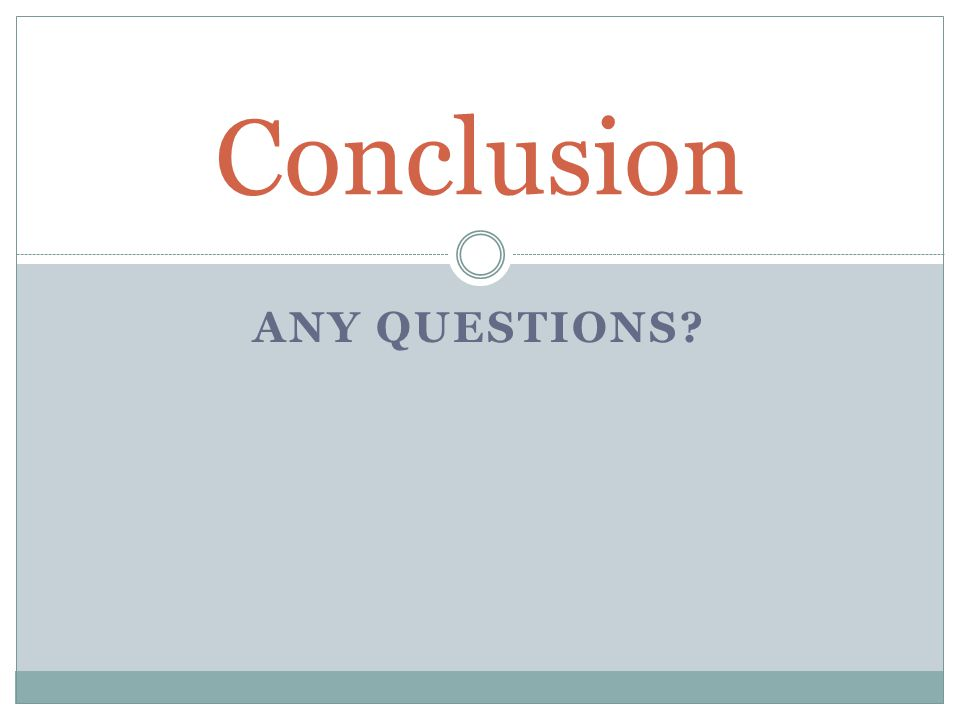 ANY QUESTIONS Conclusion