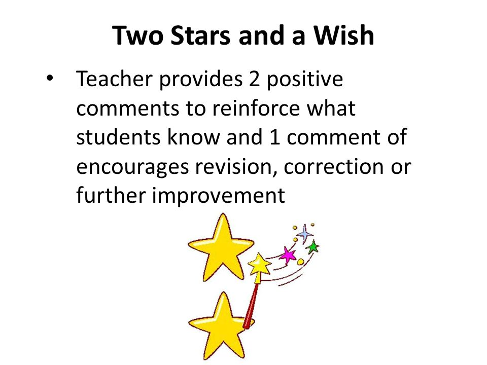 Two Stars and a Wish Teacher provides 2 positive comments to reinforce what students know and 1 comment of encourages revision, correction or further improvement