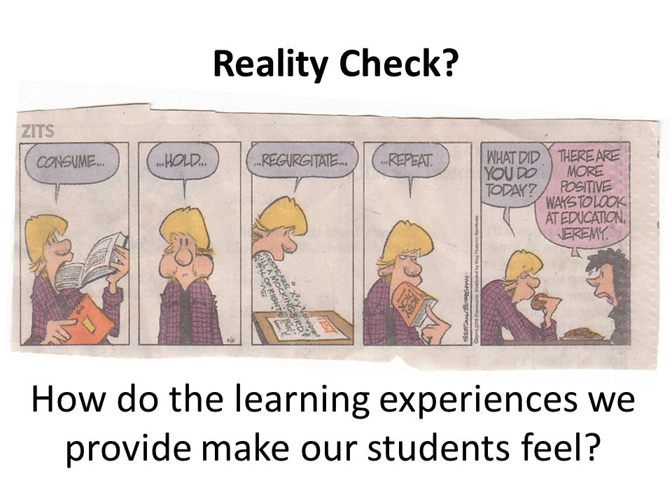 Reality Check How do the learning experiences we provide make our students feel