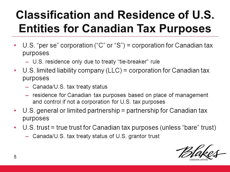 Classification and Residence of U.S. Entities for Canadian Tax Purposes U.S.