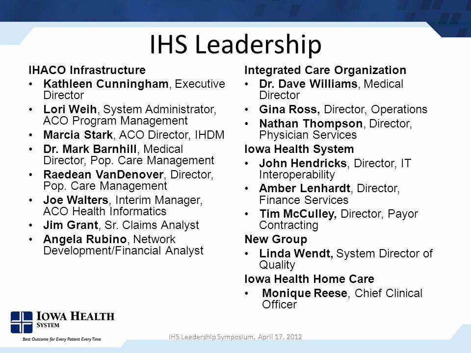 IHS Leadership IHACO Infrastructure Kathleen Cunningham, Executive Director Lori Weih, System Administrator, ACO Program Management Marcia Stark, ACO Director, IHDM Dr.