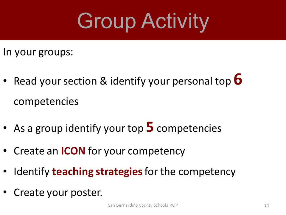 Group Activity In your groups: Read your section & identify your personal top 6 competencies As a group identify your top 5 competencies Create an ICON for your competency Identify teaching strategies for the competency Create your poster.