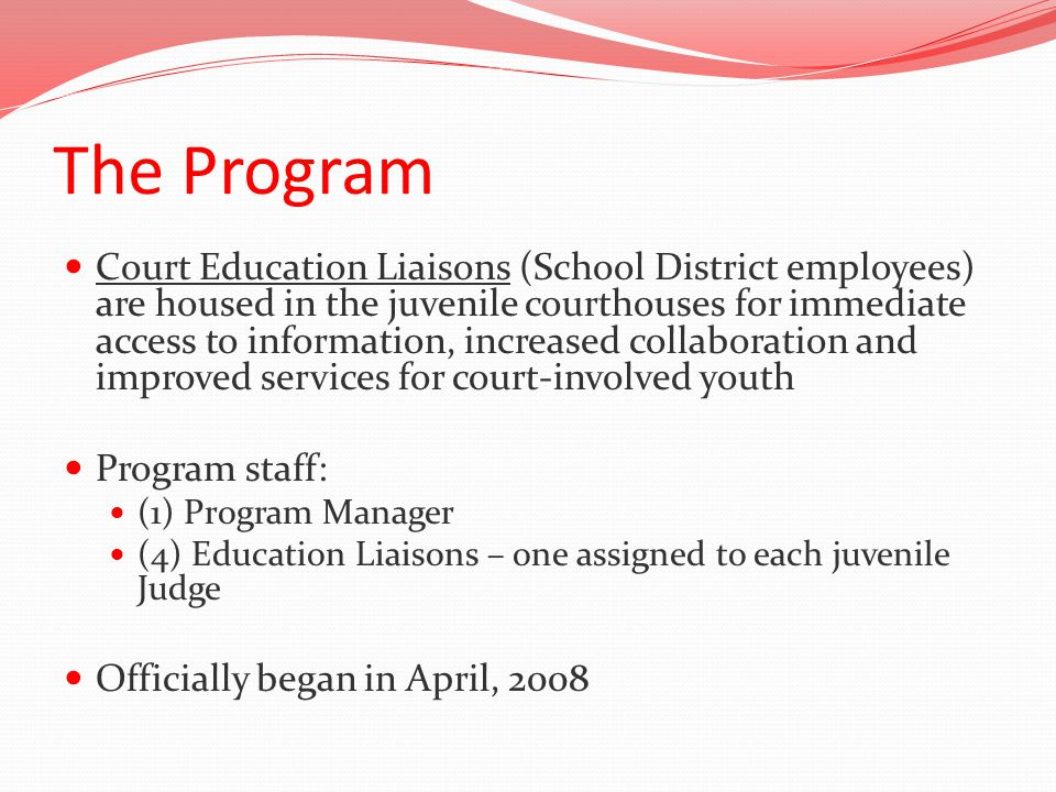 The Program Court Education Liaisons (School District employees) are housed in the juvenile courthouses for immediate access to information, increased collaboration and improved services for court-involved youth Program staff: (1) Program Manager (4) Education Liaisons – one assigned to each juvenile Judge Officially began in April, 2008