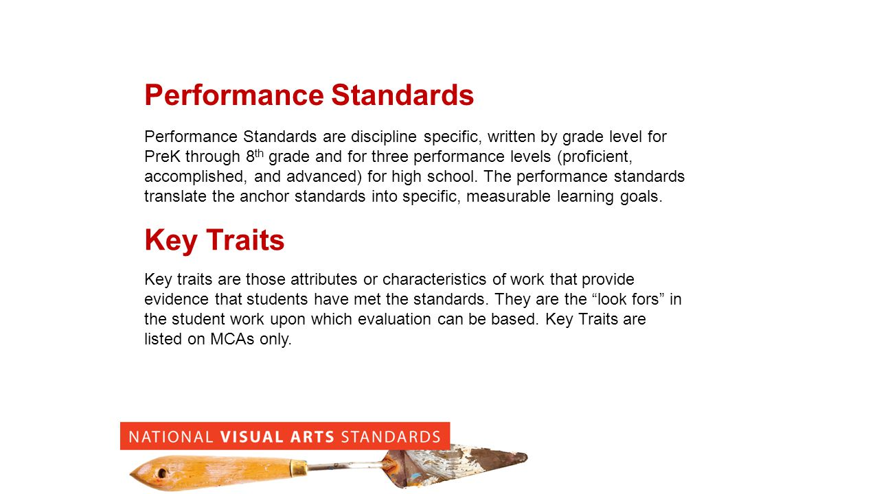 Performance Standards Performance Standards are discipline specific, written by grade level for PreK through 8 th grade and for three performance levels (proficient, accomplished, and advanced) for high school.