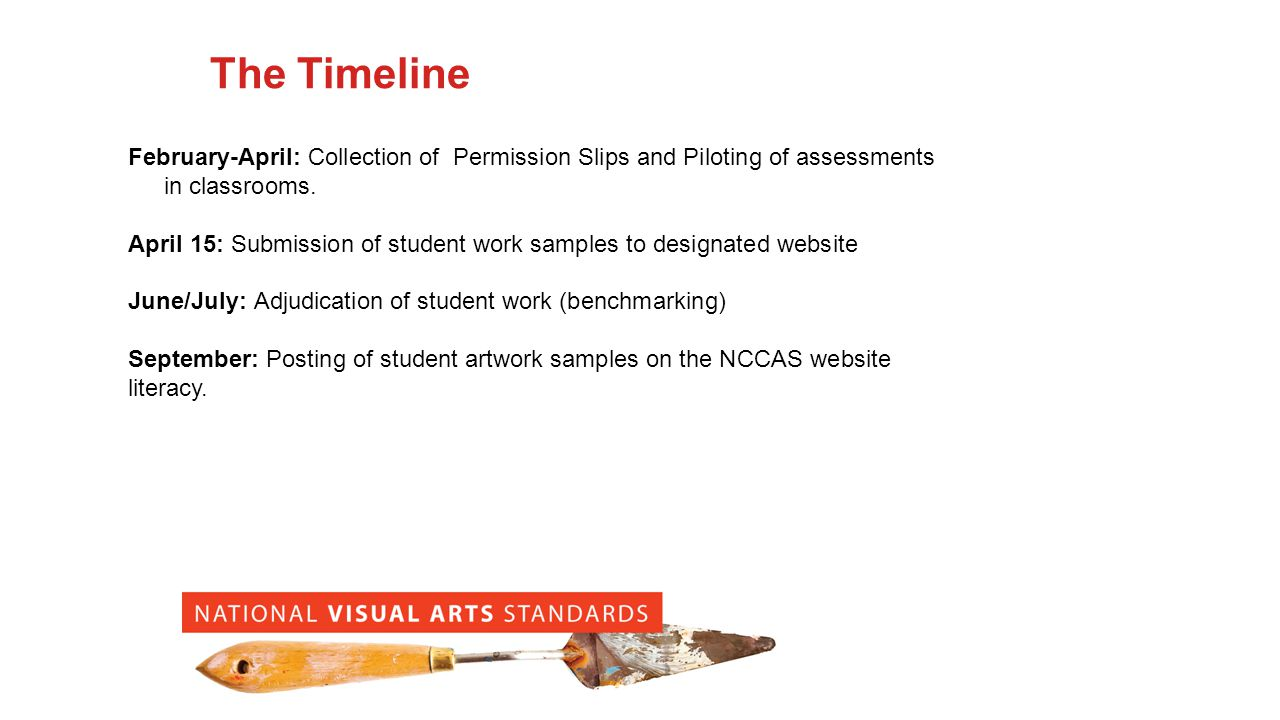 The Timeline February-April: Collection of Permission Slips and Piloting of assessments in classrooms.