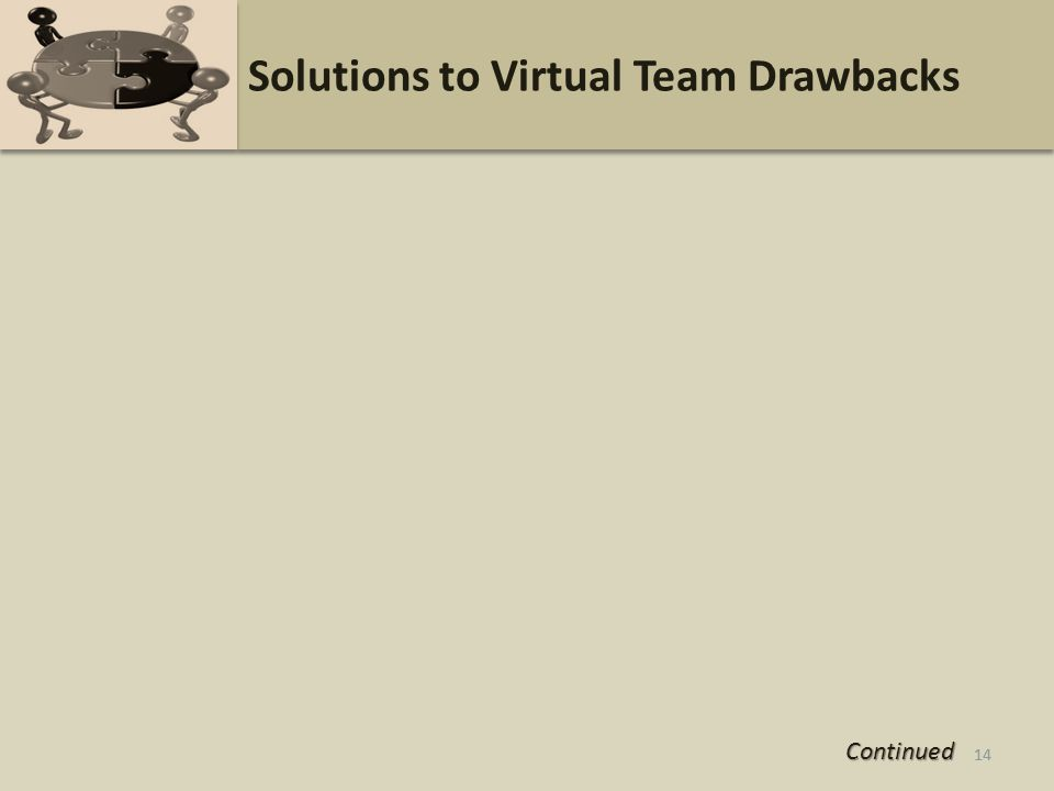 14 Solutions to Virtual Team Drawbacks 14 Continued