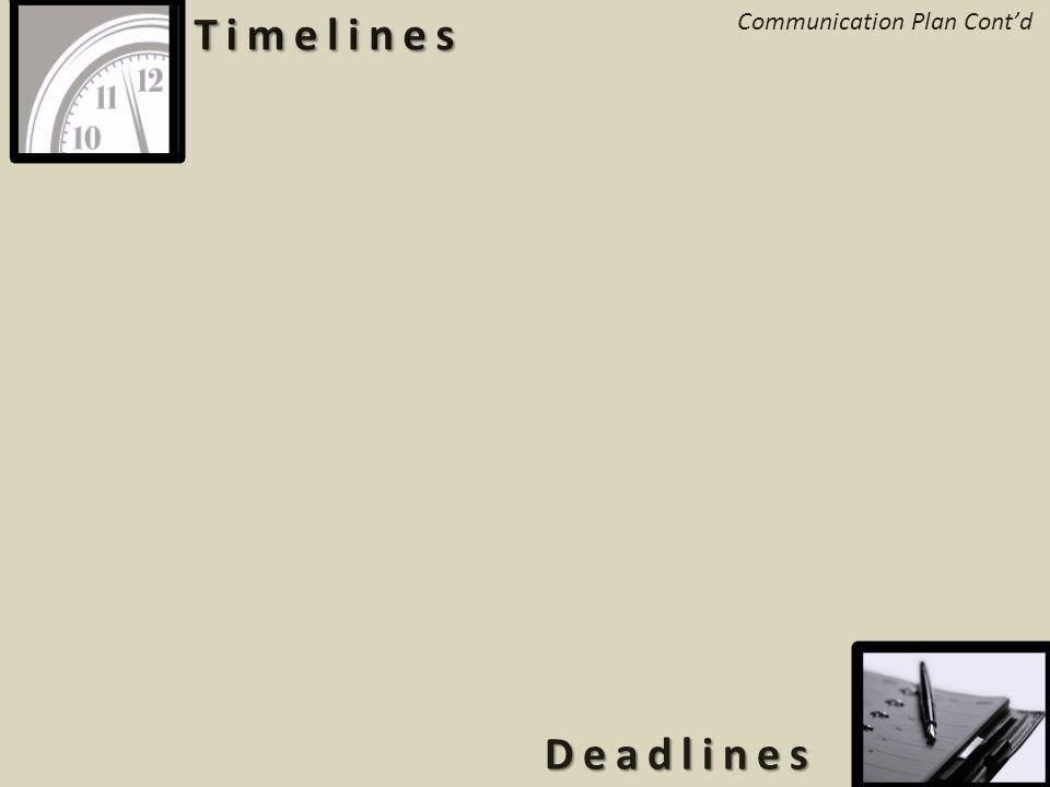 4 Deadlines Communication Plan Cont'd