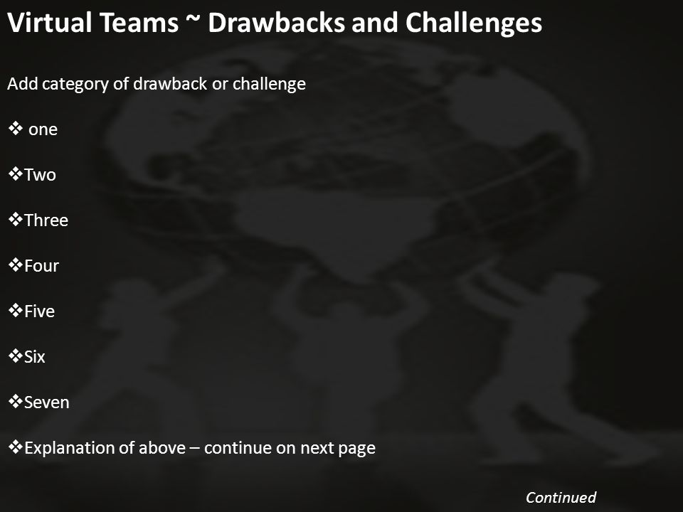 9 Virtual Teams ~ Drawbacks and Challenges Continued Continued Add category of drawback or challenge  one  Two  Three  Four  Five  Six  Seven 