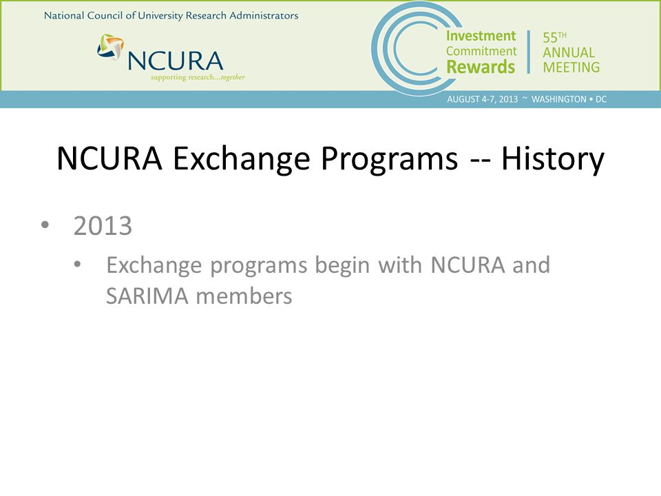 NCURA Host Institutions – Past and Present Brown University California Institute of Technology, Pasadena, California University of California - Irvine University of California, Los Angeles, Los Angeles, California California State University - Fresno Case Western Reserve University, Cleveland, Ohio University of Colorado at Boulder, Boulder, Colorado Colorado State University, Fort Collins, Colorado Columbia University