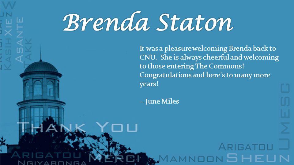 It was a pleasure welcoming Brenda back to CNU.