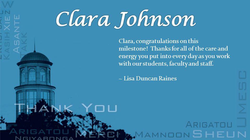 Clara, congratulations on this milestone.