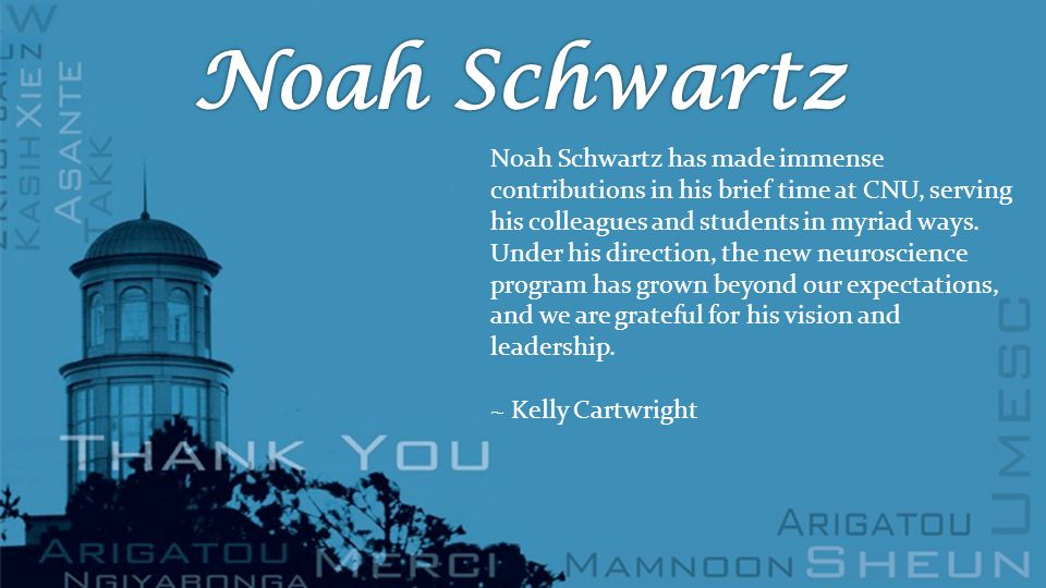Noah Schwartz has made immense contributions in his brief time at CNU, serving his colleagues and students in myriad ways.