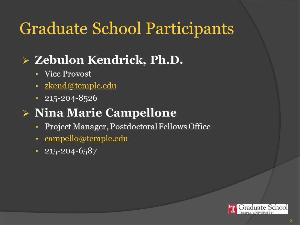 Graduate School Participants  Zebulon Kendrick, Ph.D.