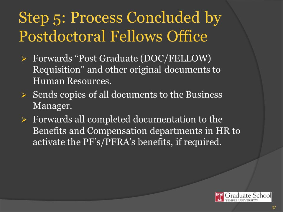 "Step 5: Process Concluded by Postdoctoral Fellows Office  Forwards ""Post Graduate (DOC/FELLOW) Requisition"" and other original documents to Human Res"