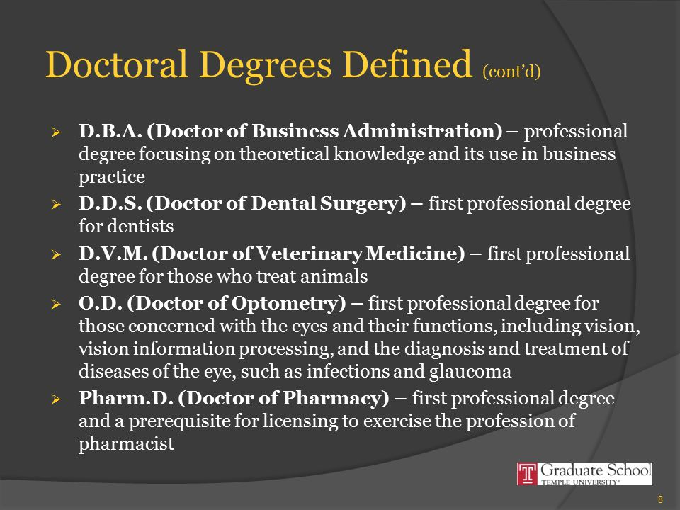 Doctoral Degrees Defined (cont'd)  D.B.A.