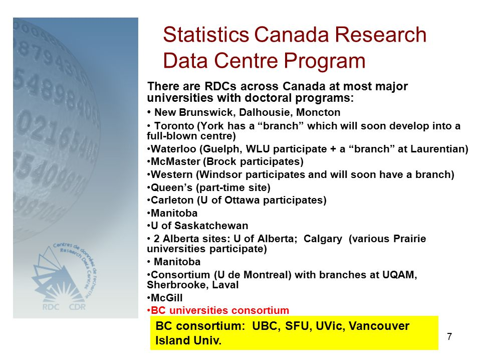 8 The UVic branch works within the British Columbia Interuniversity Research Data Centre network main site is at UBC; open 9-5 M-F UVic site has more restrictive hours (arranged term- by-term in consultation with researchers).