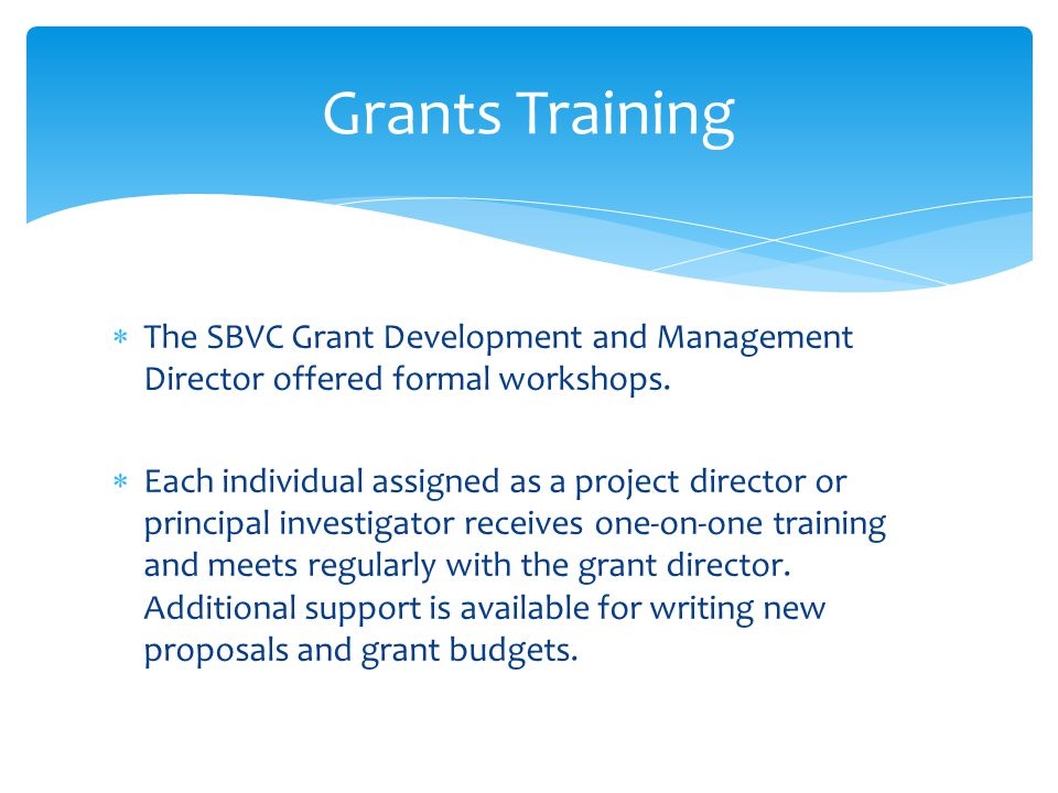  The SBVC Grant Development and Management Director offered formal workshops.